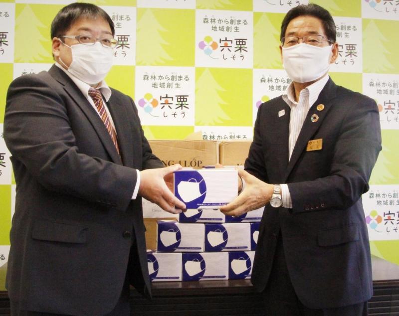 株式会社スポーツプラザ報徳から市へマスクの寄贈がされました。