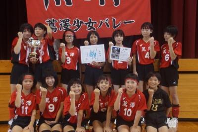 熱戦を制し、見事優勝に輝いた蔦澤少女バレーボール教室Aの選手ら